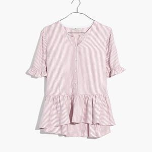 Madewell Ruffle-Hem Top in Lavender Stripe XS